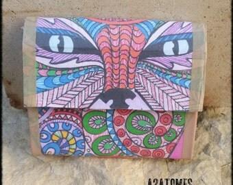 Porte-monnaie ou Porte carte petite pochette motif yeux de chat mystique ton multi-couleur