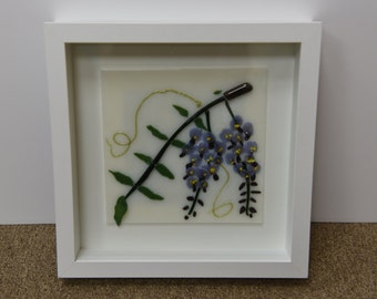 Framed Fused Glass Wisteria Picture