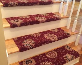 Authentic Wool Cinnabar TRUE Bullnose™ Carpet Stair Tread New Zealand Wool  Emporium Runner Replacement Upgrade
