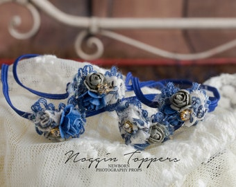 dainty newborn headband navy blue flowers with pearls and gemstones photography prop