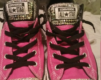 Pink and black bling converse