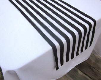 Black  and White Stripe Table Runner - Wedding, Birthday, Graduation, Bridal Shower, Baby Shower
