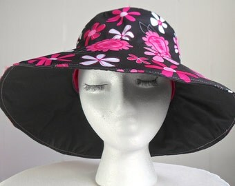 Ladies Black and Pink Sun Hat