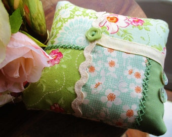 Tilda fabric crazy patchwork pin cushion in green