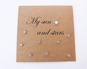 My Sun and Stars. Handmade Anniversary card. Game of thrones unique card. For my husband. For my boyfriend. For my fiance. Silver sun stars