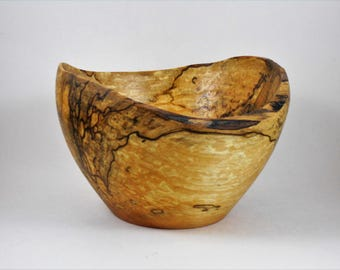 spalted maple bowl with natural edge