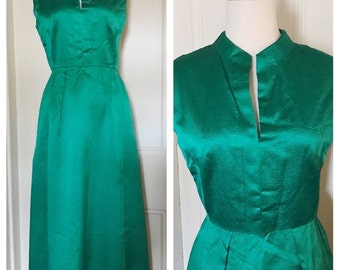 Vintage 1960's Emerald Green Dress,                     Mad Men, Evening Gown