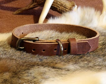 """Dog Collar - Handcrafted Leather - (for dog with 12-14"""" neck circumference)"""