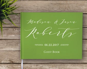 Garden Wedding Boho Guest Book - Pantone Color of the Year Greenery, Green Wedding Guestbook, Custom Guest Book, Personalized Guest Book