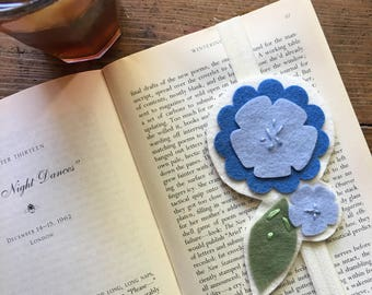 Periwinkle Blue Wool Felt Bookmark