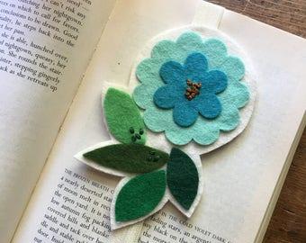 Turquoise Flower Wool Felt Bookmark