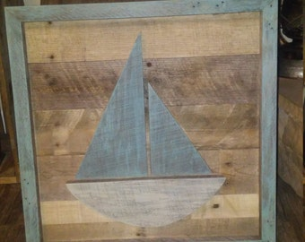 Sailboat Pallet Wood Hanging