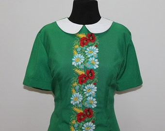 Women's dress (embroidery) cross turquoise