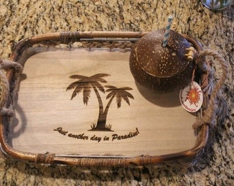Tropical Tray, Rattan Tray, Personalized Tray, Palm Tree Tray, Bamboo Tray
