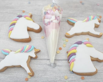 Unicorn cookie gift set, unicorn hot chocolate mix, party treats, birthday present for her, decorated biscuits, iced cookies, gifts for her,