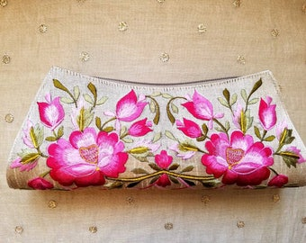 Embroidered clutch floral clutch embroidered evening bag India clutch beige clutch pink clutch gifts for her