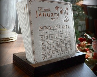Handmade Letterpress Calendar 2017