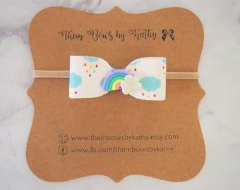 Rainbow and clouds felt headband or clip - rainbow print felt - newborns, infants, toddlers, girls