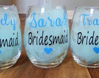 Set of 6 bridesmaid stemless wine glasses, bridal party glasses, bridesmaid gifts, wedding glass, stemless wine glass,