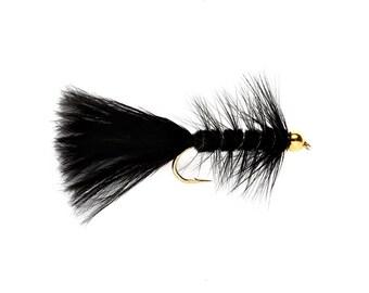 Fishing Flies - 3 Bead Head Wooly Bugger - Black Size 14, 16, 18