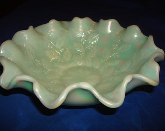 Fenton Pale Green Ruffled Edge Carnival Glass Bowl