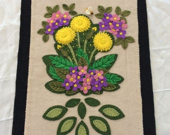 "Wool Felt Applique Wall Hanging ""Dandelions and Honey Bee"""