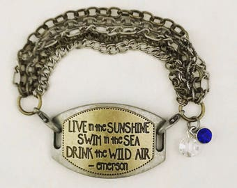 Live in the sunshine, swim in the sea, drink the wild air, pendant charm bracelet, mixed metals word connector pendant bracelet, crystal cha