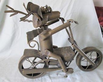 1980s Deer on Motorcycle Metal Sculpture Vintage Original Detachable Parts