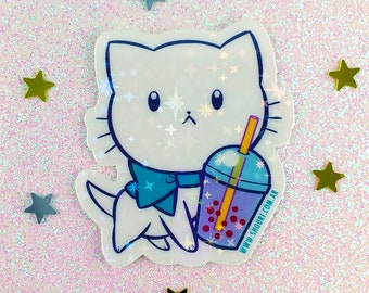 Bubble Kittea Purple Standing bubble tea kitty holographic stickers white film water resistant