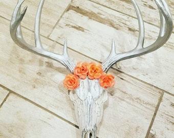 White Boho Deer Skull with Flower Headpiece