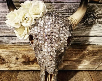 Bling and Flower Bull Skull