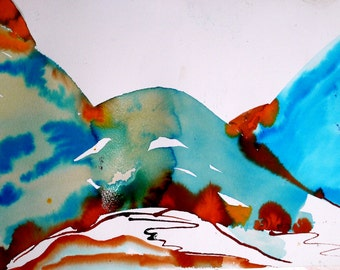Table abstract Turquoise, Art abstract, contemporary abstract painting, Original Art, painting Turquoise Orange, landscape, contemporary