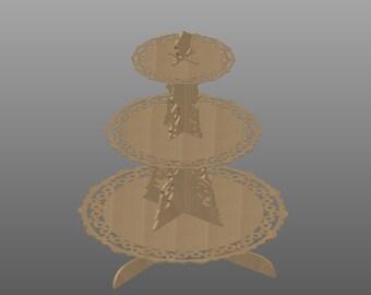 3 niveaux Cupcake Stand vecteur pour Laser découpe CNC, téléchargement immédiat