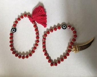 Women's Handmade Red Crystal Bead Bracelet Set