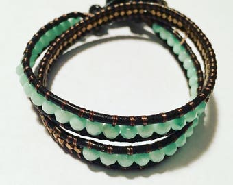 Threaded Stone double wrap leather Bracelet with Jade (dyed Amazonite) and Brass seed beads with button fastening