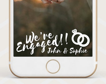 White Engagement Geofilter, Engaged Geofilter, White Engaged geofilter, custom engagement snapchat filter we're engaged geofilter E16