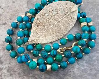 Colorful Leaf and Australia Jasper Long Necklace  16