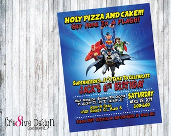 Justice League Super Hero Birthday Custom Printable Invitation, Superman, Batman, The Flash, Green Lantern, Comic Book Invitation, Heroes