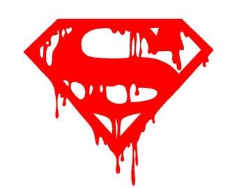 Dripping Superman Vinyl Decal Car Window Laptop Sticker