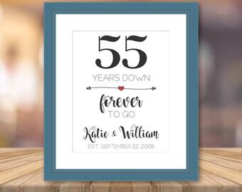 55th Anniversary Wedding Gift For Parents 55 Year Anniversary Print Artwork Personalized Cotton Art Print Custom Wall Art Cotton Fabric