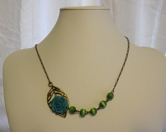 Antique Leaf with Flower Necklace