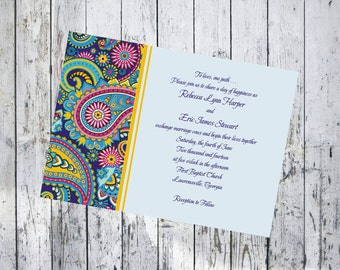 Blue Paisley Wedding Invitation and Respond Card