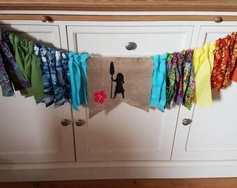 Rag bunting Moana theme/ disney theme/girls bunting/birthday gift/nursery decor/personalisation available
