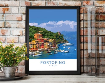 Portofino - Italy, Poster Print, Wall Print, Wall Art, Travel Poster, Illustration, Gift, Picture