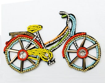 Free Shipping! Bicycle Multi Color Beads Sew On Patch, Sewing Applique