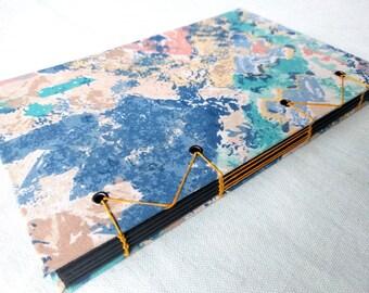 SALE 10% OFF - Retro Pastel Upcycled Fabric Handbound Coptic Book - black cardstock