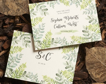 Botanical Garden // customisable green leafy wedding save the date