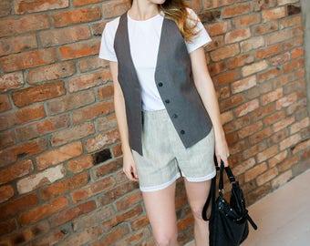 Linen vest, Grey linen vest, Linen, No-tie vest, Grey no-tie vest, Women's vest, Grey vest, Linen women's vest, Grey linen women's vest Vest