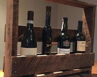 Rustic handmade wine rack, Rustic wood wine rack, Pallet wine rack, Wine rack and shelf, Wooden wine rack