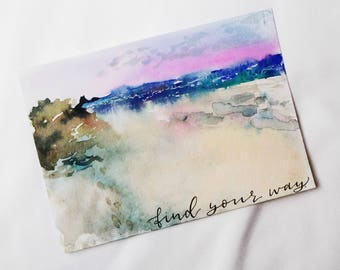 Find Your Way - Beach Watercolor Painting